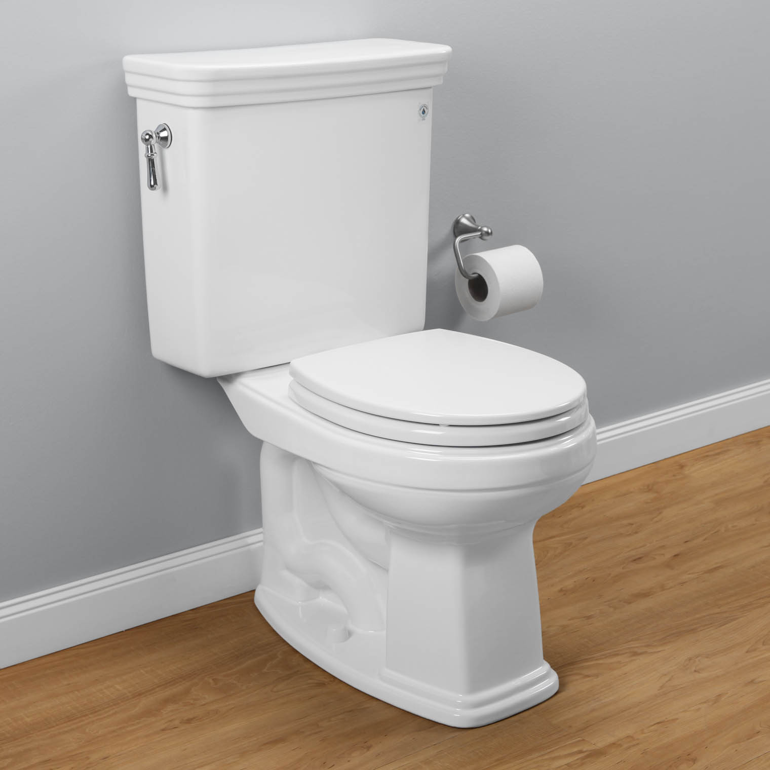 Toto Toilets CST423EFG 01 Eco Promenade Round On Wooden Floor Matched With Grey Wall Plus Rolled Tissue For Toilet Decor Ideas