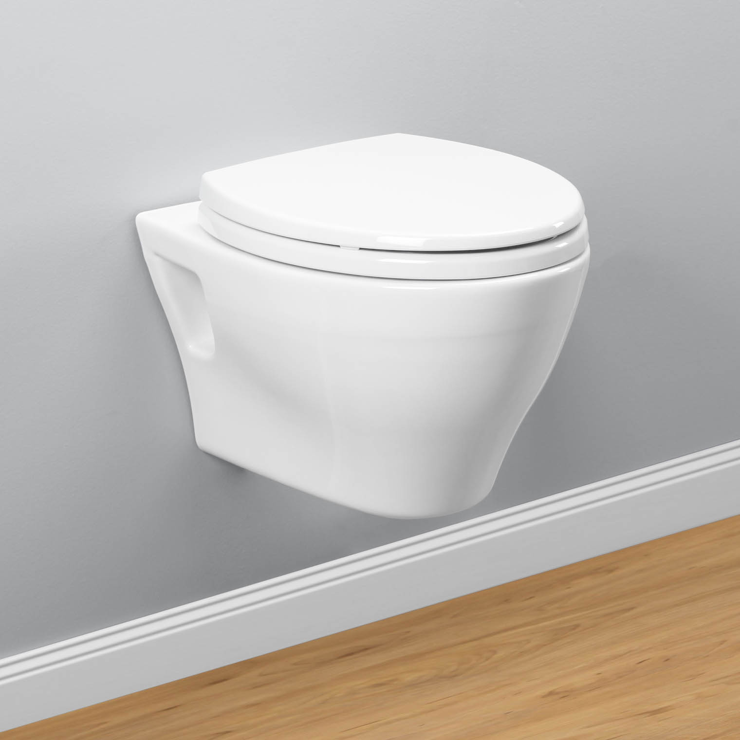 Toto toilets CT418FG 01 Aquia Wall Mounted Dual Flush Elongated patched on grey wall matched with wooden floor and white baseboard molding for toilet decor ideas