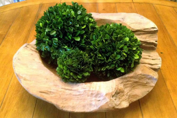 Triple Ball Preserved Boxwood On Wooden Plant For Home Accessories Ideas
