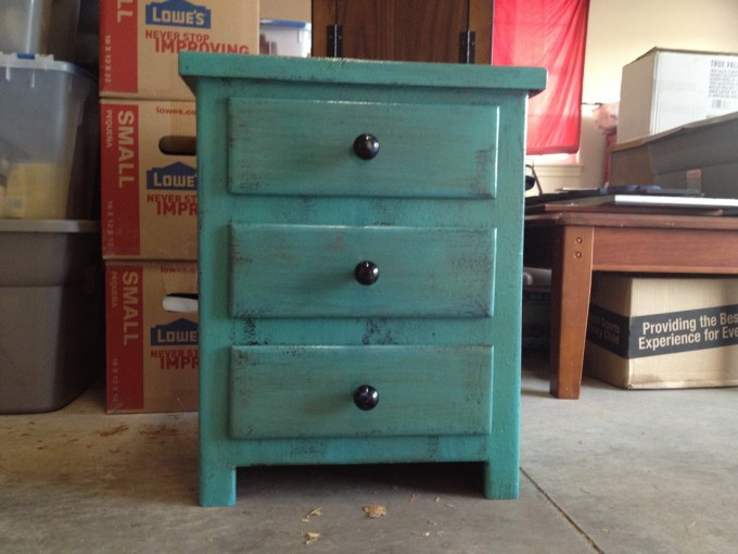 Turquoise Nightstand With Black Handle For Home Furniture Ideas