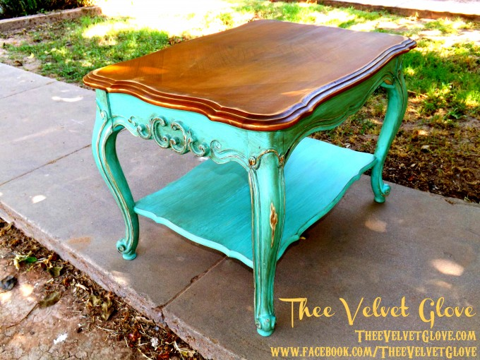 Turquoise Nightstand With Brown Surface For Home Furniture Ideas