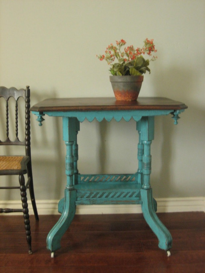 Turquoise Nightstand With Brown Surface On Wooden Floor Plus Chair For Home Decor Ideas