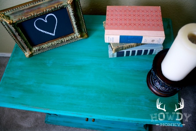 Turquoise Nightstand With Candle For Home Furniture Ideas