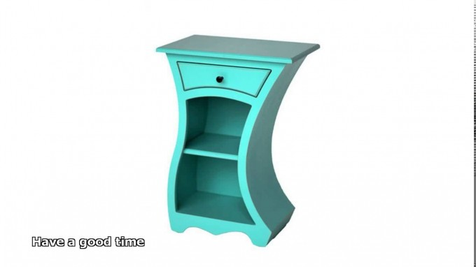 Turquoise Nightstand With Curved Design And Single Drawer With Black Handle For Home Furniture Ideas