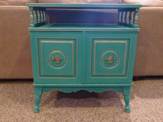 Turquoise Nightstand With Drawers And Golden Handle For Home Furniture Ideas