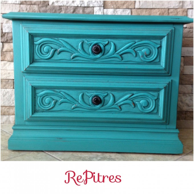 Turquoise Nightstand With Floral Ornament And Black Handle For Home Furniture Ideas