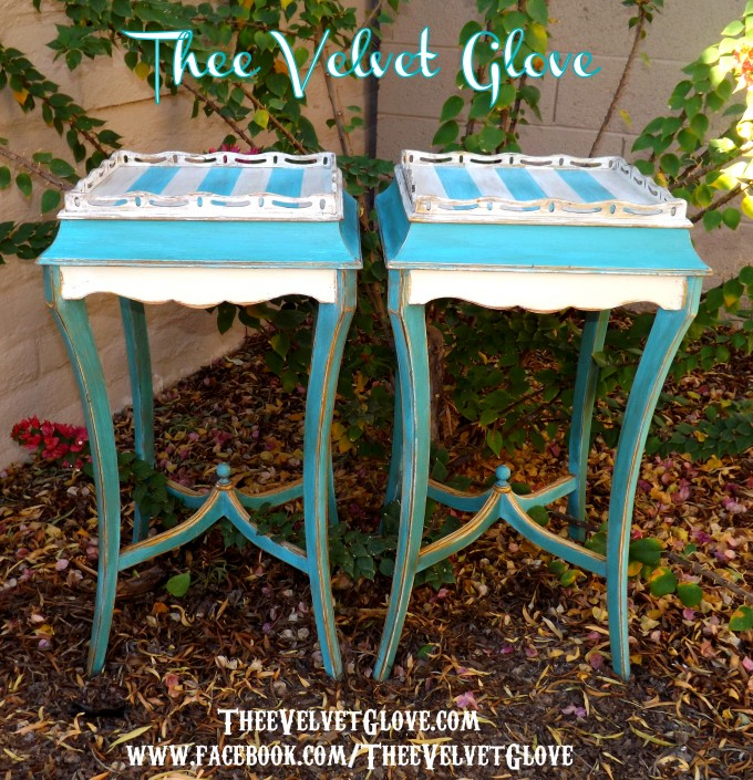 Turquoise Nightstand With Glass On Top For Home Furniture Ideas
