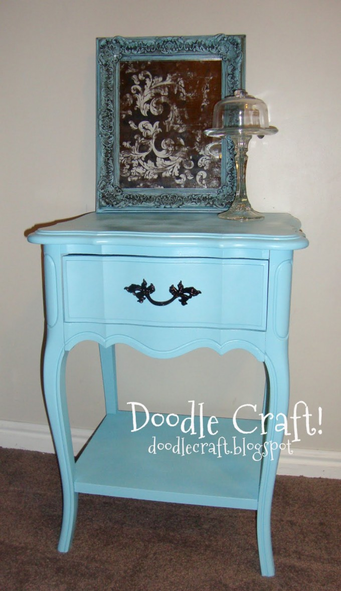 Turquoise Nightstand With Single Drawer And Black Handle For Home Furniture Ideas