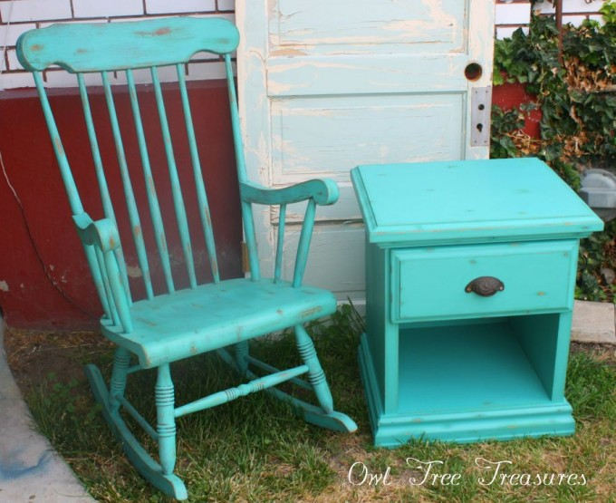 Turquoise Nightstand With Single Drawer And Black Handle Plus Matching Chair For Home Furniture Ideas