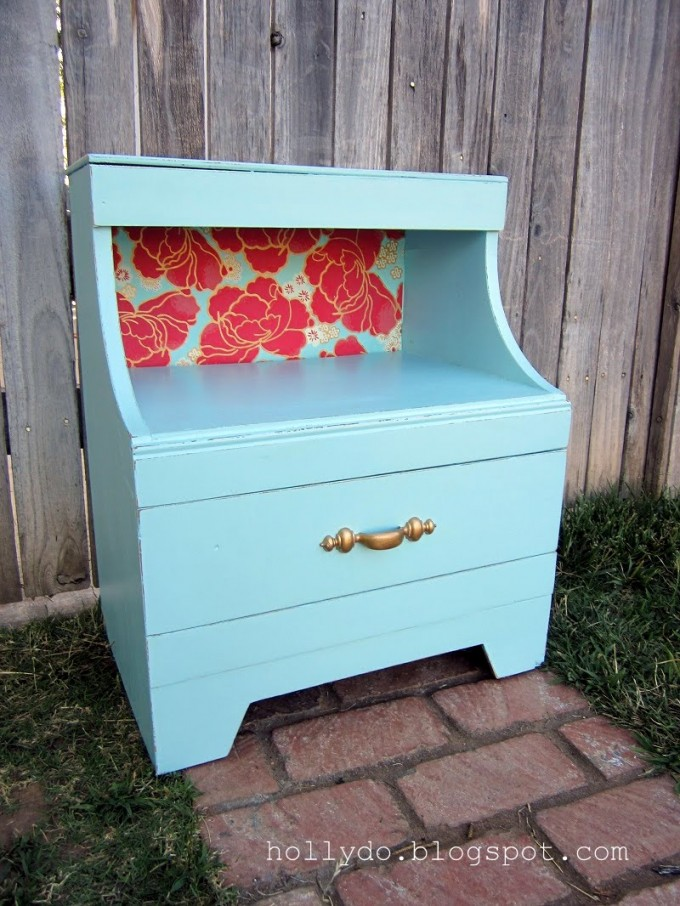 Turquoise Nightstand With Single Handle And Rose Ornament For Home Furniture Ideas