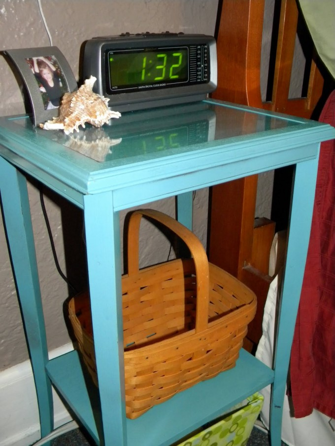 Turquoise Nightstand With Table Clock For Home Furniture Ideas