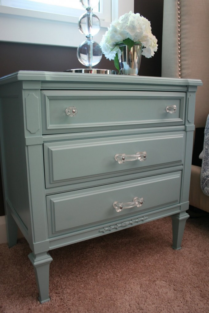 Turquoise Nightstand With Transparent Handle On Brown Carpet For Home Decor Ideas