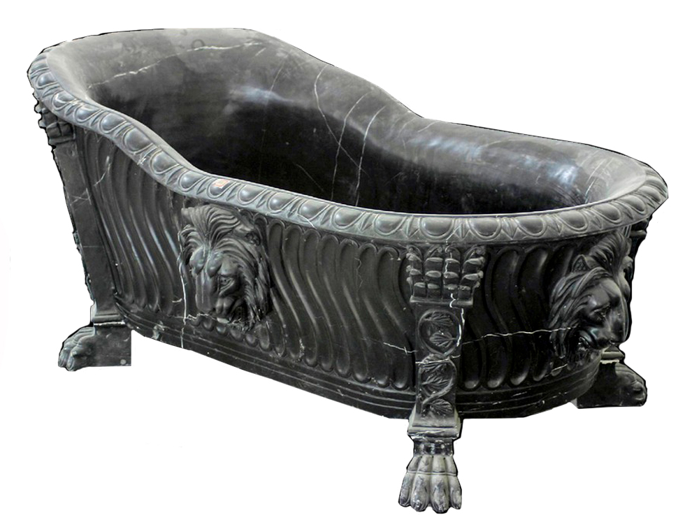 Unique Black Clawfoot Tub With Lion Head Ornament For Bathroom Furniture Ideas