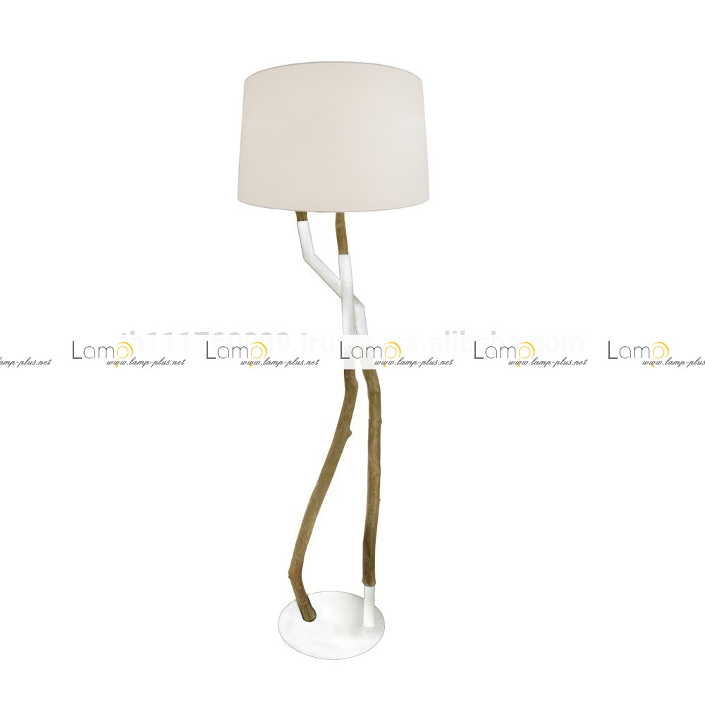 unique design of driftwood floor lamp with white head for home furniture ideas