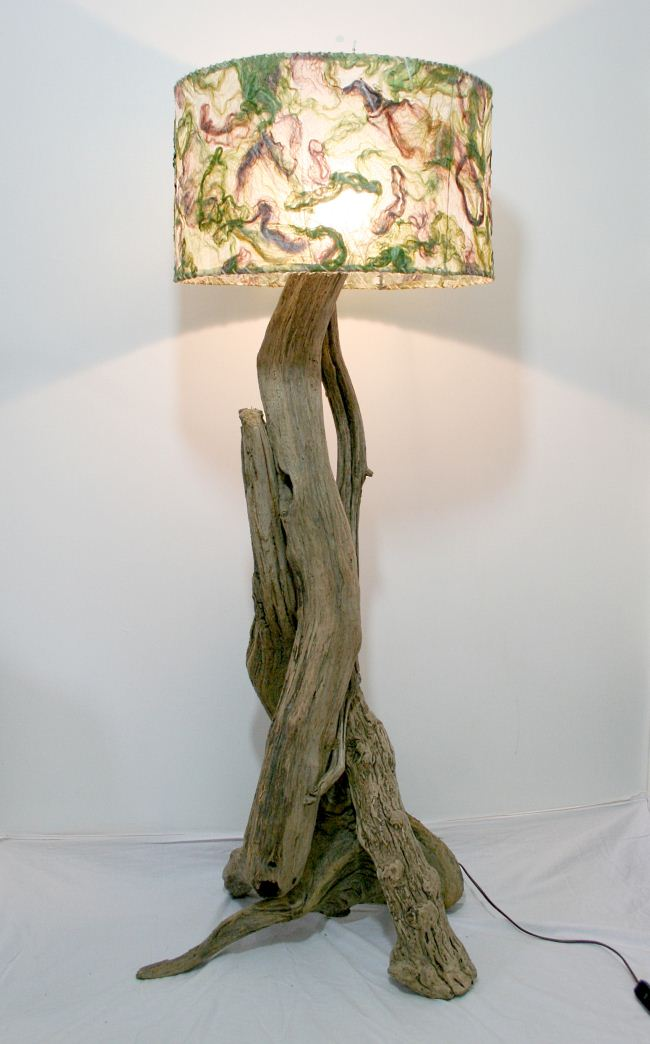 unique driftwood floor lamp with charming ornament on head for home furniture ideas
