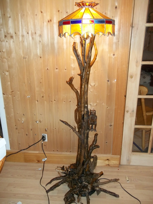 unique driftwood floor lamp with multicolor head for home furniture ideas
