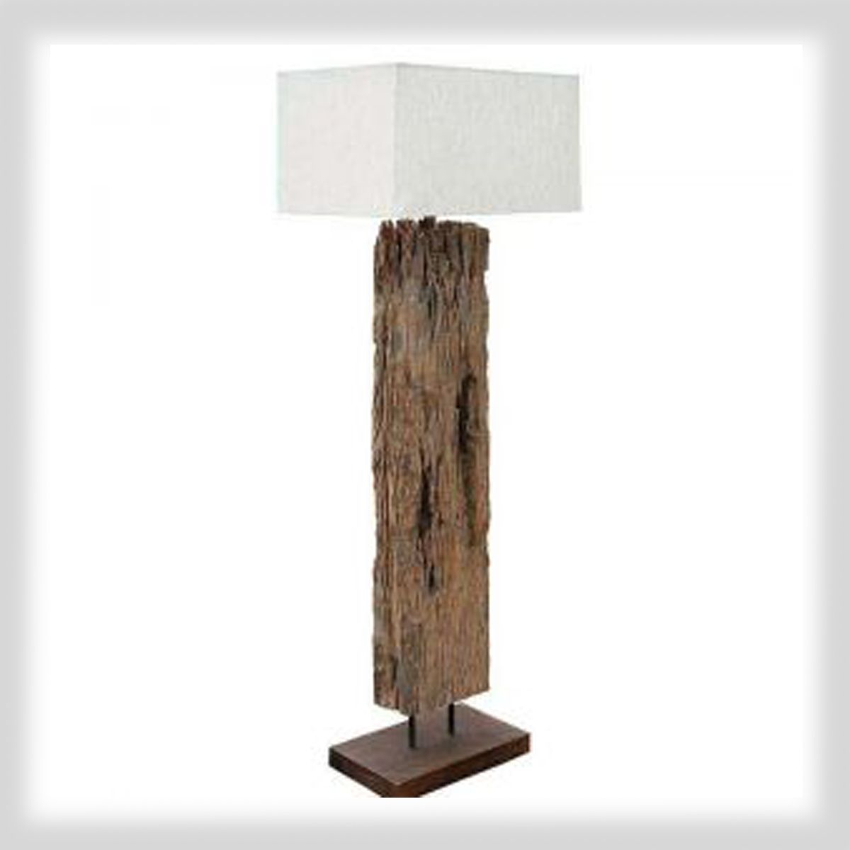 unique driftwood floor lamp with rectangle white head for home furniture ideas