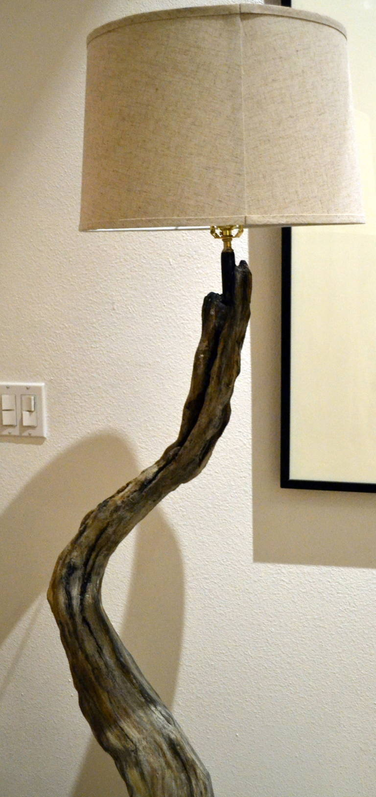 Unique Driftwood Floor Lamp with white head for home furniture ideas