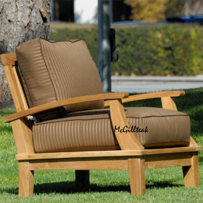 Unique Teak Adirondack Chairs With Browun Seat Cushion For Outdoor Furniture Ideas