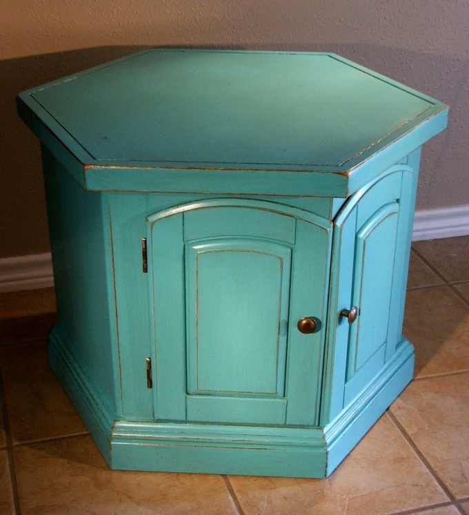 Unique Turquoise Nightstand With Drawers And Brown Handle For Home Furniture Ideas