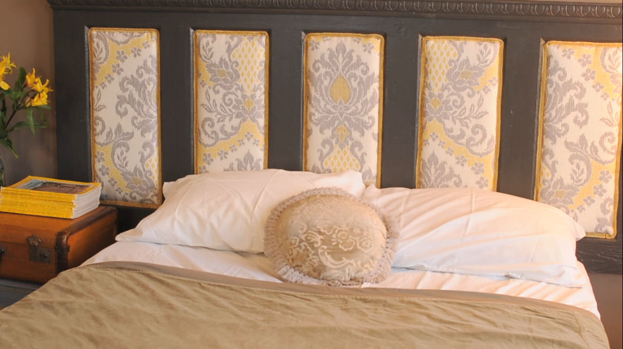 unique upholstered headboards in floral motif with tan bedding plus white pillows for bedroom decor ideas