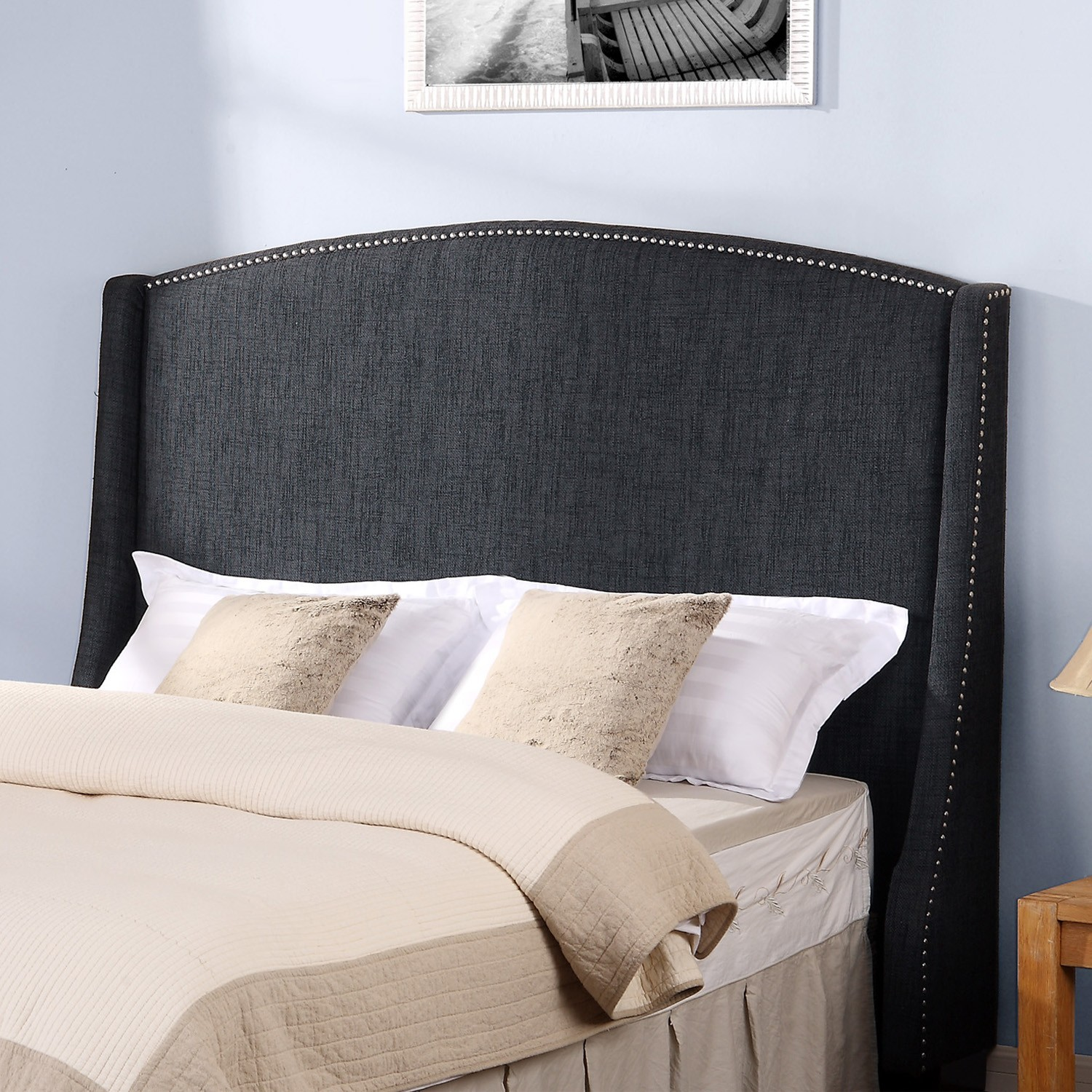 Upholstered Headboards In Black Matched With Mocca Bedding Before The White Wall With Picture For Bedroom Decor Ideas