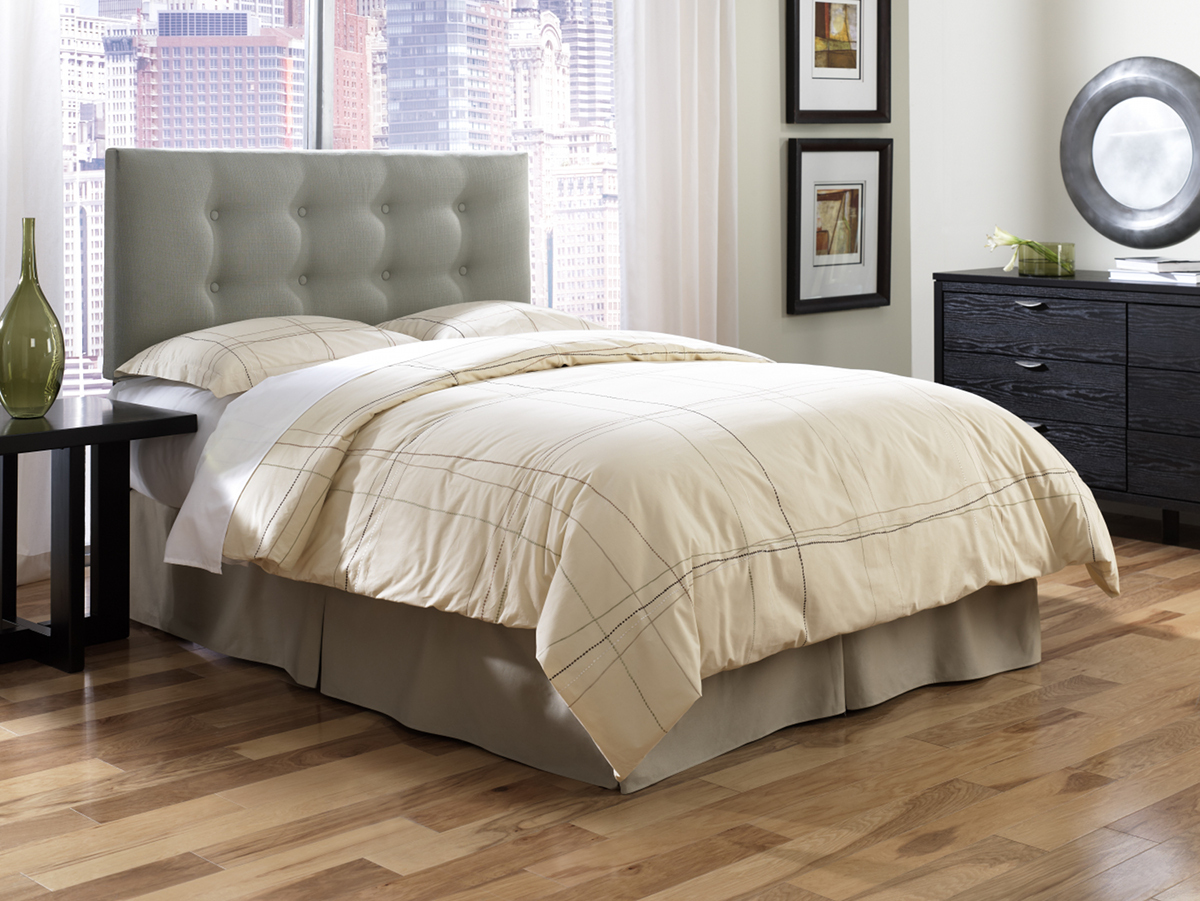 Upholstered Headboards In Gray With Cream Bedding On Wooden Floor For Bedroom Decor Ideas