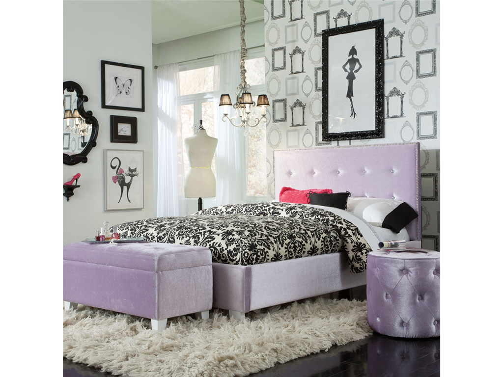 upholstered headboards in purple matched with black floral bedding on wooden floor with white rug plus ottoman for bedroom decor ideas