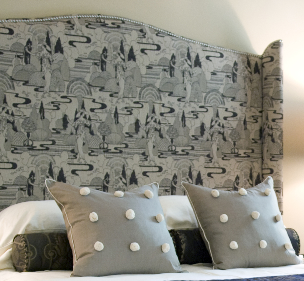 upholstered headboards in unique motif plus unique pillow before the cream wall for bedroom decor ideas