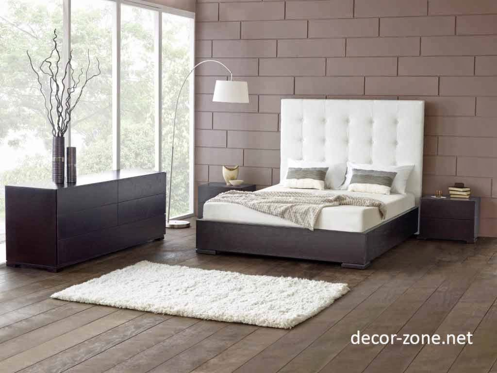 upholstered headboards in white matched with white bedding and pillows on wooden floor matched with brown wall for bedroom decor ideas