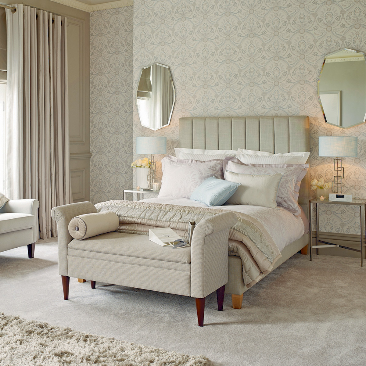 wheat laura ashley bedding with olive headboard on wheat floor matched with wheat wallpaper for bedroom decor ideas