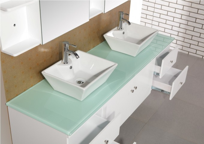 White Bathroom Vanities With Tops And Double Sinks And Double Faucets On Grey Floor For Bathroom Decor Ideas