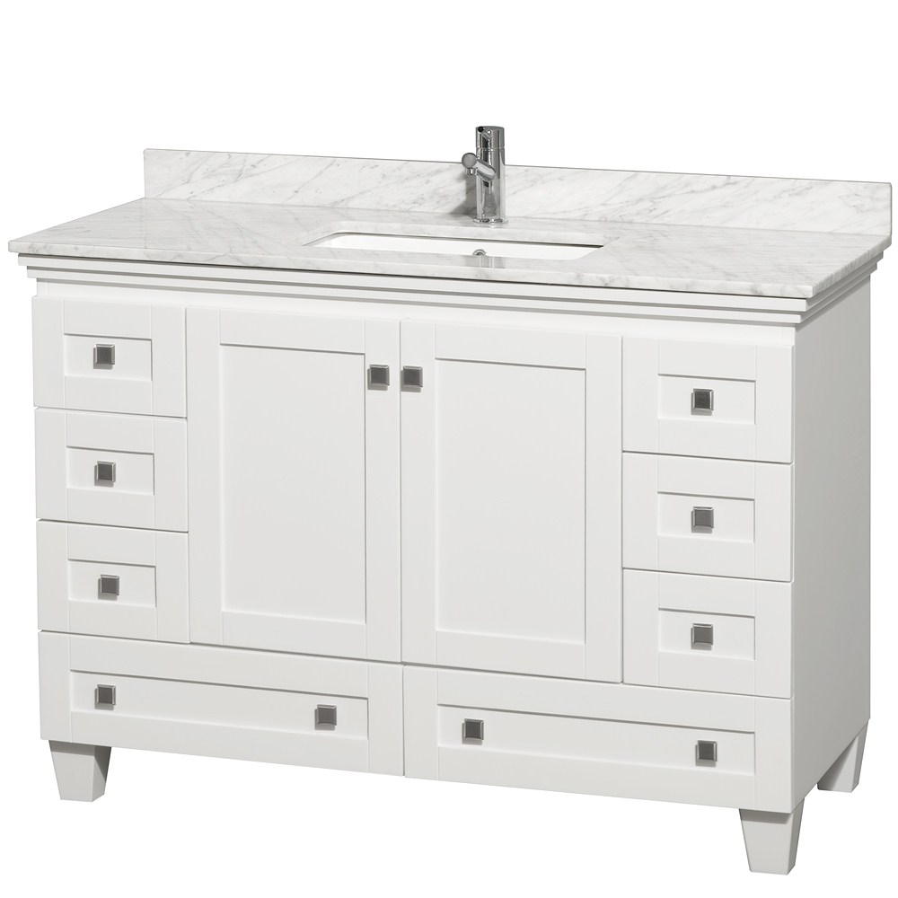 White Bathroom Vanities With Tops And Single Sink And Single Faucet For  Bathroom Furniture Ideas