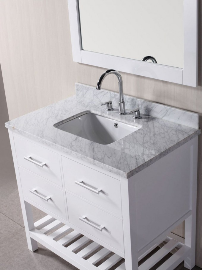 White Bathroom Vanities With Tops And Single Sink Plus Faucet Before The Wheat Wall Plus Mirror For Bathroom Decor Ideas