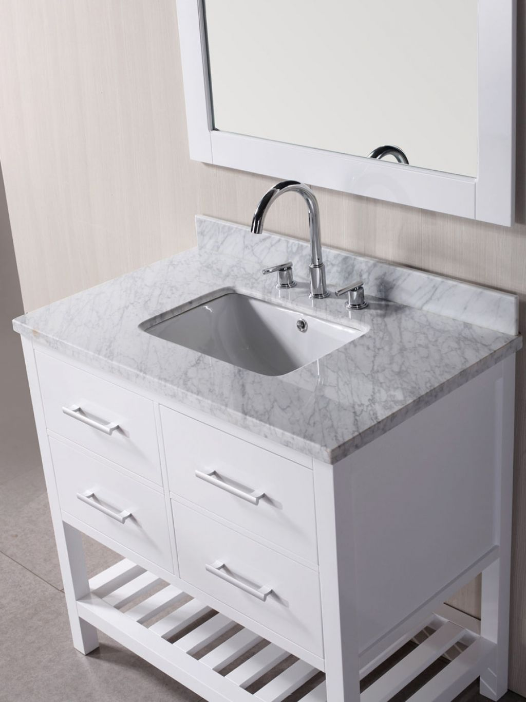 white bathroom vanities with tops and single sink plus faucet before the  wheat wall plus mirror. Bathroom  Inspiring Bathroom Vanities With Tops For Bathroom