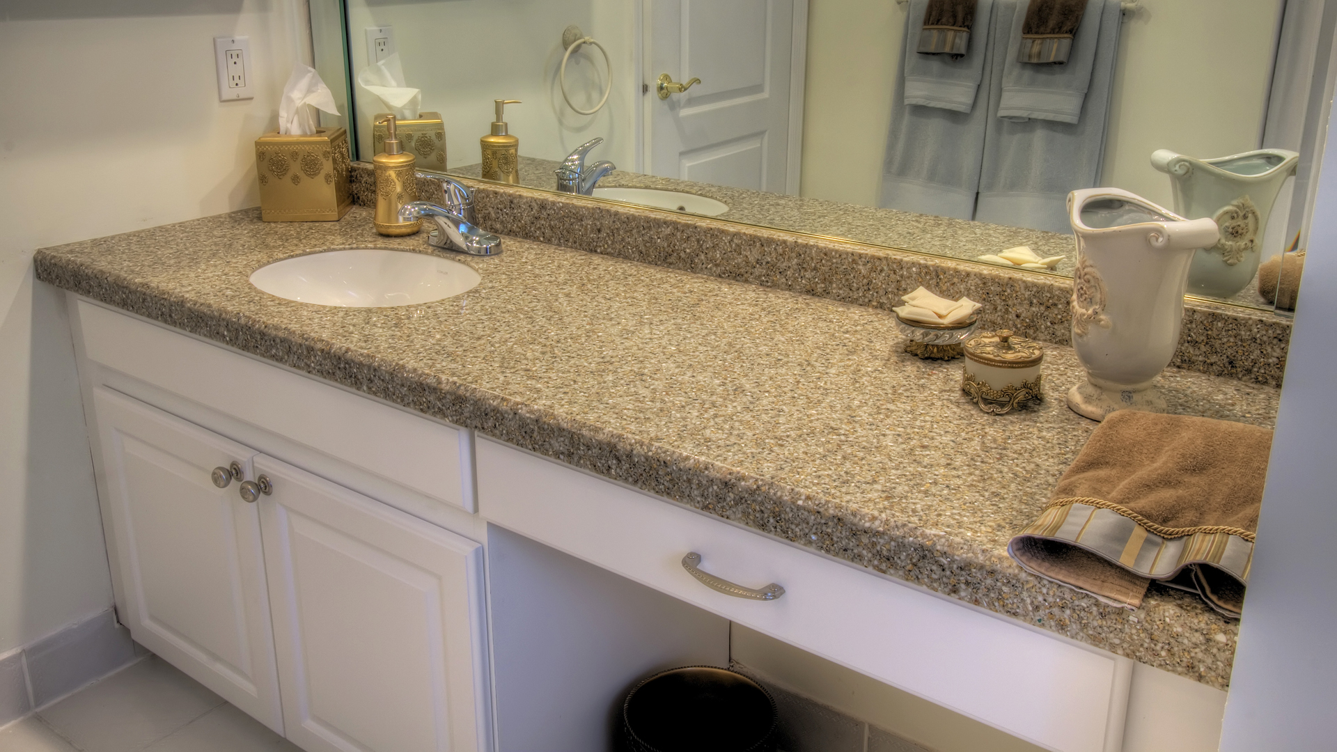 white bathroom vanities with tops and sink plus faucet before the mirror for bathroom decor ideas