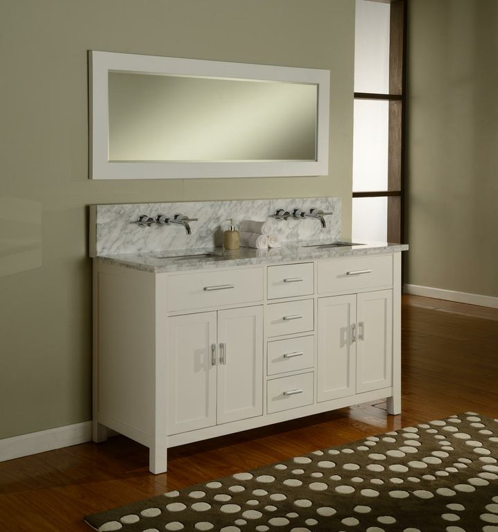white bathroom vanities with tops and sinks plus faucets on brown wooden floor matched with wheat wall plus mirror for bathroom decor ideas