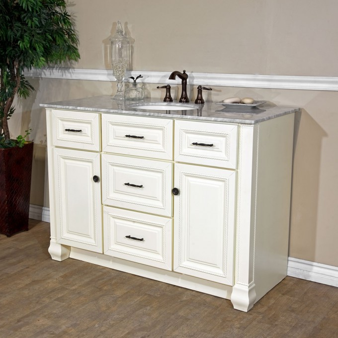 White Bathroom Vanities With Tops And White Sink And Brown Faucet On Wooden Floor Matched With Cream Wall For Bathroom Decor Ideas