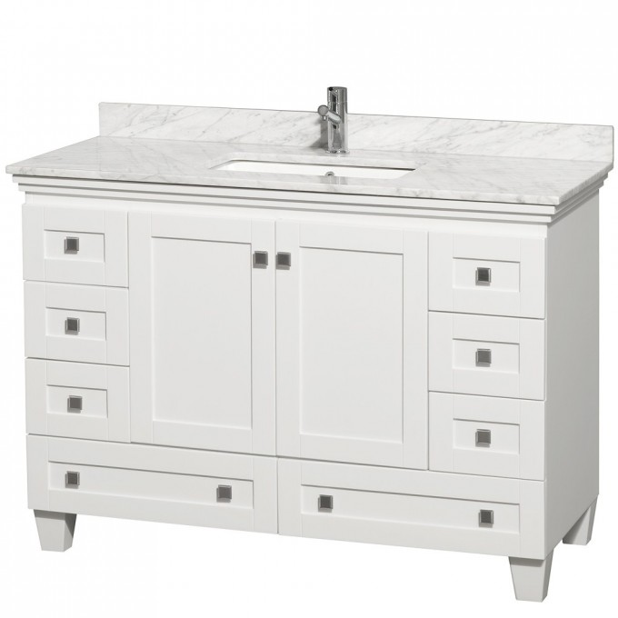 White Bathroom Vanities With Tops With Black Handle Plus Single Sink And Single Faucet For Bathroom Furniture Ideas