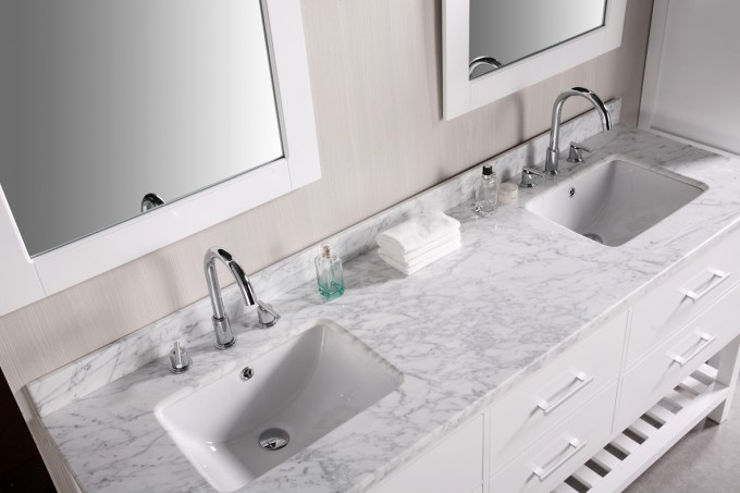 White Bathroom Vanities With Tops With Double Sinks And Faucets Before The Wheat Wall Plus Double Mirror For Bathroom Decor Ideas