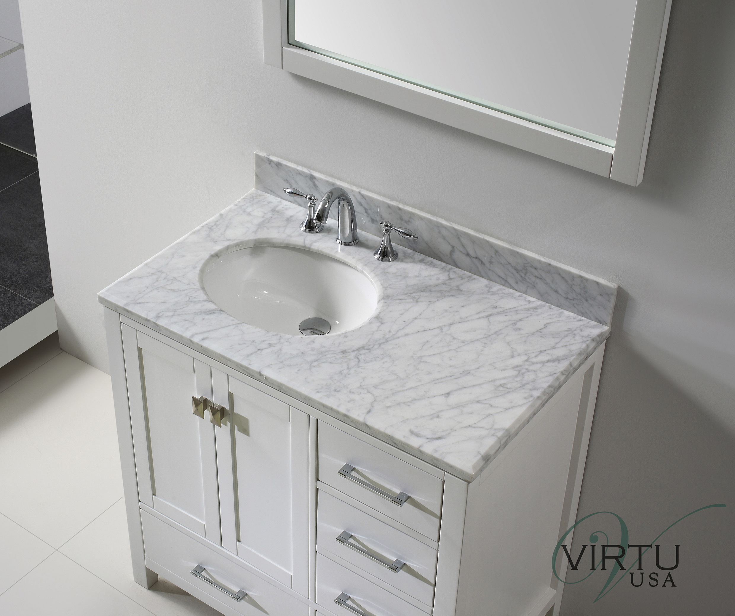 White Bathroom Vanities With Tops With Single Sink And Faucet On White  Ceramics Floor Matched With