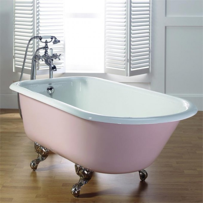 White Bathup With Clawfoot Tub On Tan Ceramics Floor Matched With White Wall For Bathroom Decor Ideas