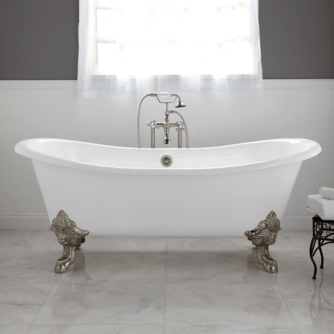 White Bathup With Silver Clawfoot Tub On White Ceramics Floor Matched With Grey Wall With White Wainscoting And Window With Curtain For Bathroom Decor Ideas
