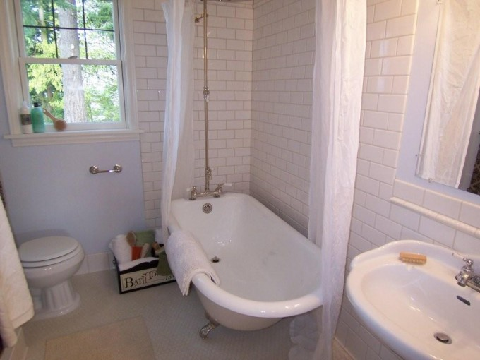 White Bathup With Silver Clawfoot Tub On White Ceramics Floor Matched With White Bricked Wall Plus Curtains For Bathroom Decor Ideas