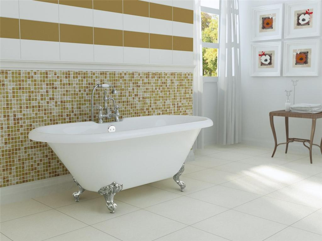 White Bathup With Silver Clawfoot Tub On White Floor Matched With Mosaic Tile Wall For Bathroom Decor Ideas