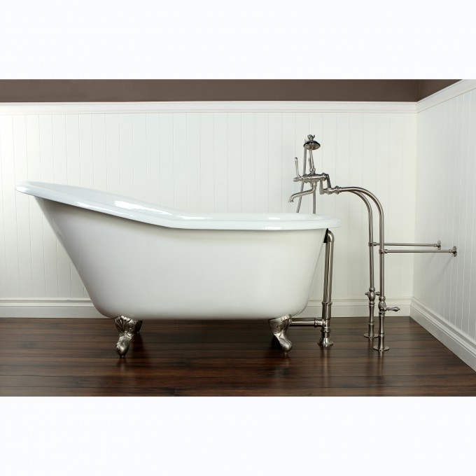 White Bathup With Silver Clawfoot Tub On Wooden Floor Matched With White Wainscoting For Bathroom Decor Ideas