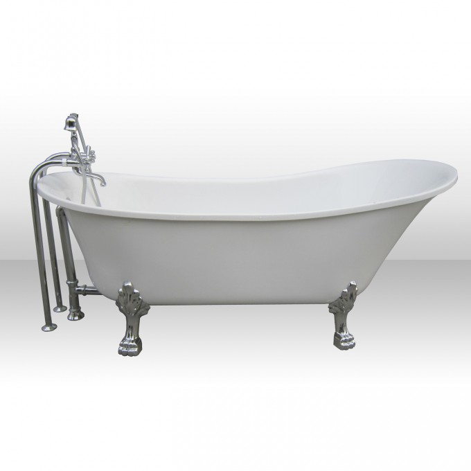 White Bathup With Silver Clawfoot Tub Plus Silver Shower Faucet For Bathroom Furniture Ideas