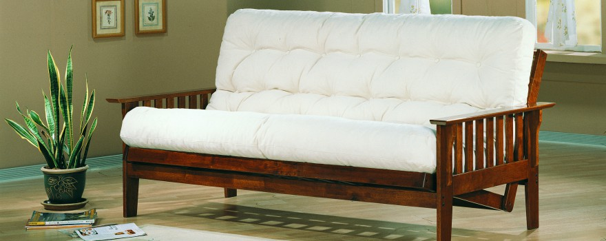 White Cheap Futons With Wooden Frame For Home Furniture Ideas