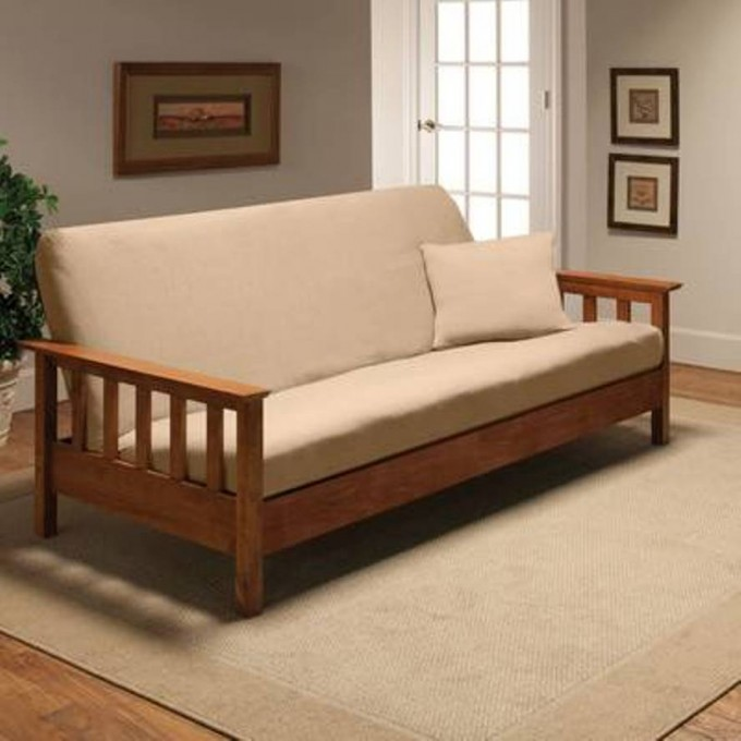 White Cheap Futons With Wooden Frame Plus Table For Home Furniture Ideas