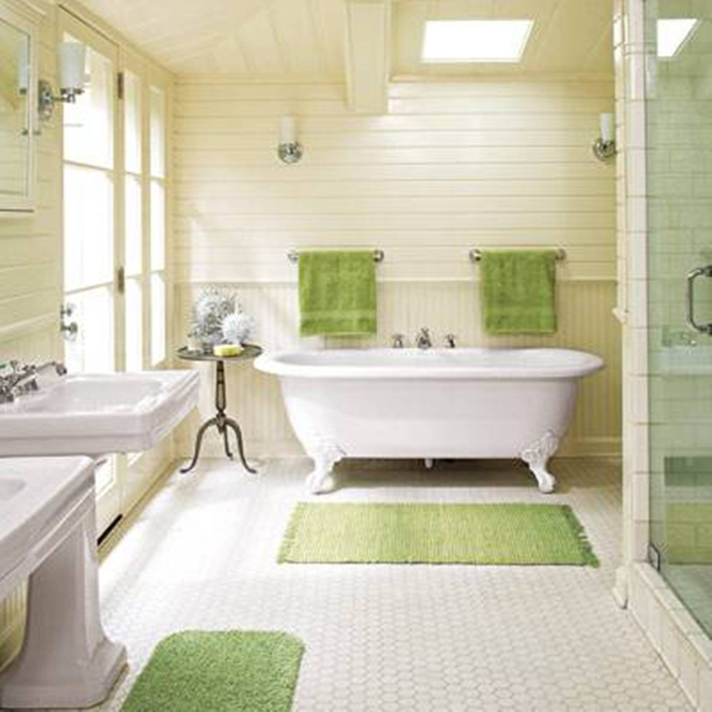 Bathroom White Clawfoot Tub On White Floor Plus Green Rugs And - White bath runner for bathroom decorating ideas